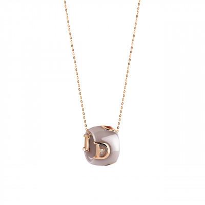 Collana in ceramica cappuccino, oro e diamante