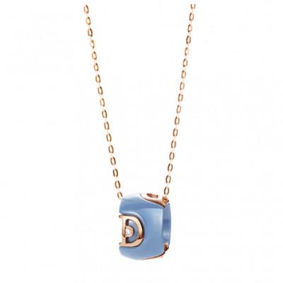 Collana in ceramica azzurra, oro e diamante