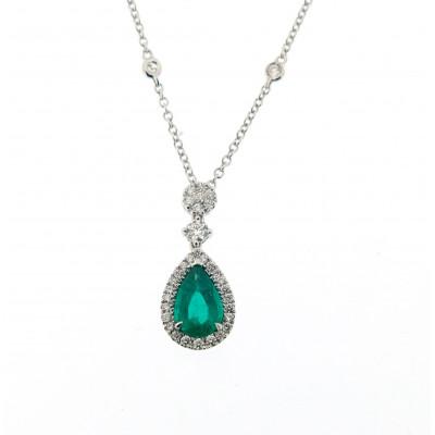 Collana Diamond Drop Smeraldo