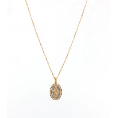 Collana Madonna Miracolosa oro rosa e diamanti