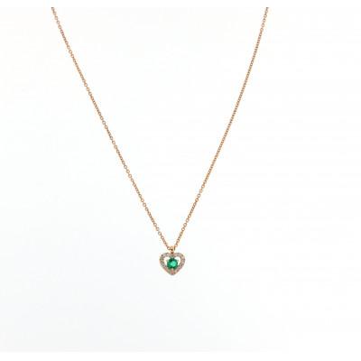 Collana Cuore Smeraldo Diamanti