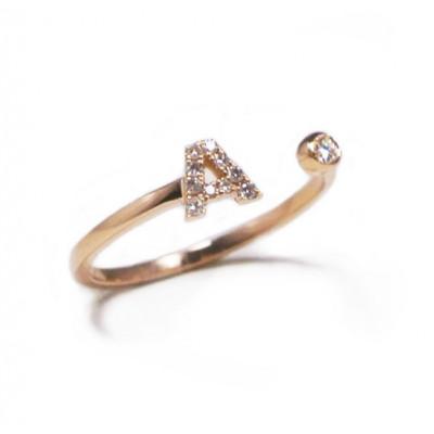 Anello Iniziale Lettera A con Diamanti