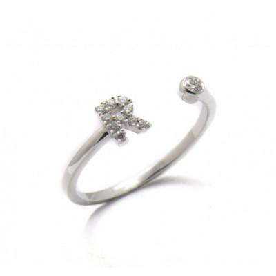 Anello Iniziale Lettera R con Diamanti