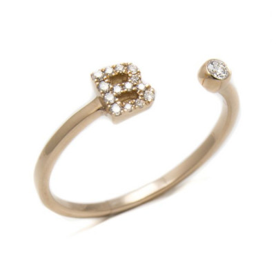 Anello Iniziale Lettera B con Diamanti