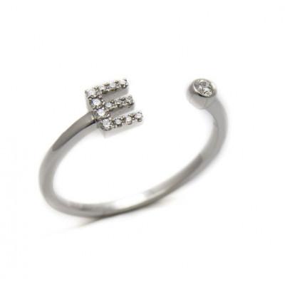 Anello Iniziale Lettera E con Diamanti