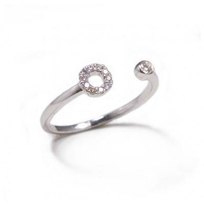 Anello Iniziale Lettera O con Diamanti