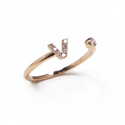 Anello Iniziale Lettera V con Diamanti