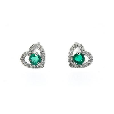 Orecchini Cuori Diamanti Smeraldo