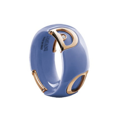 Anello in ceramica viola, oro e diamante