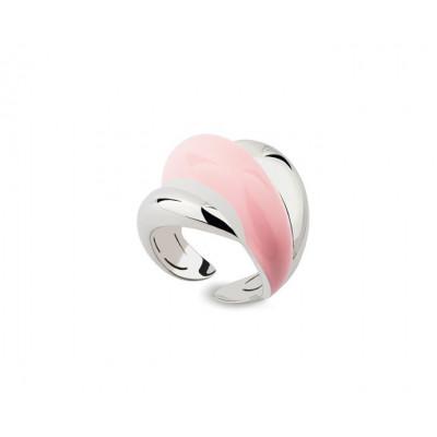 Anello in argento e diamante con smalto rosa