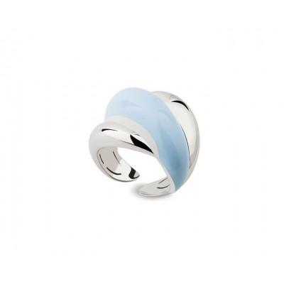 Anello in argento e diamante con smalto azzurro
