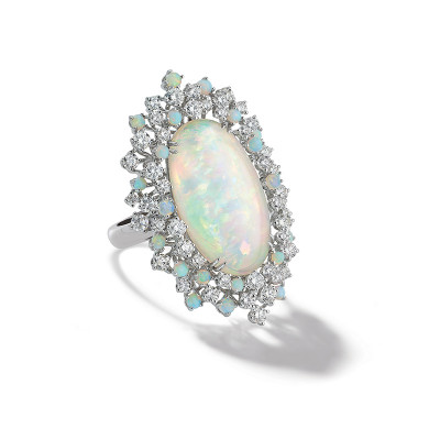 Anello Mimosa in oro bianco con diamanti e Opale