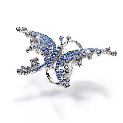 Anello Animalia oro bianco, diamanti e zaffiri