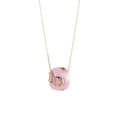 Collana in ceramica rosa, oro rosa e diamante