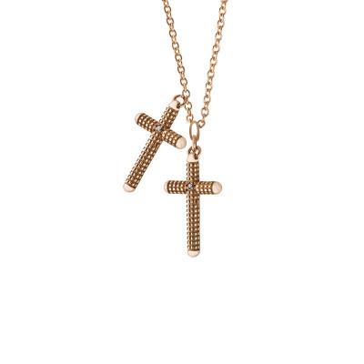 Collana Metropolitan croce in oro rosa con diamanti