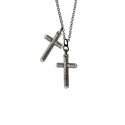 Collana Metropolitan croci in oro black e diamanti