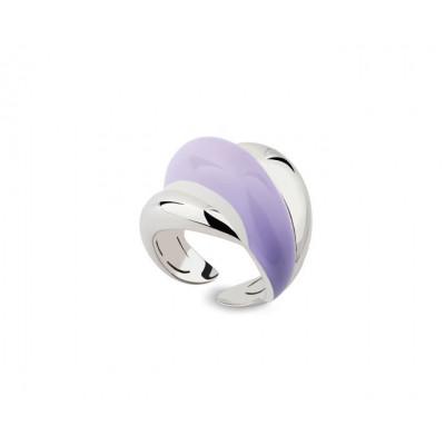 Anello in argento e diamante con smalto viola