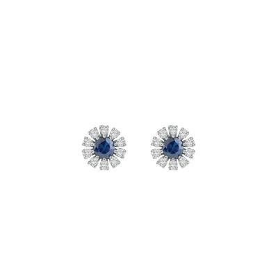 Orecchini Margherita in oro bianco diamanti e zaffiri