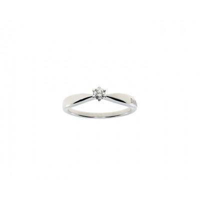 Anello solitario Sei tu in oro bianco  con diamante ct 0,15 G VS1