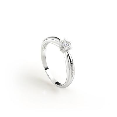 Anello solitario Sei tu in oro bianco  con diamante ct 0,24 H VS