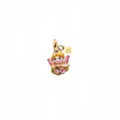 Ciondolo Angioletto Rosa con fiori
