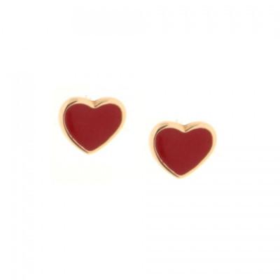 Orecchini Cuoricini smalto rosso