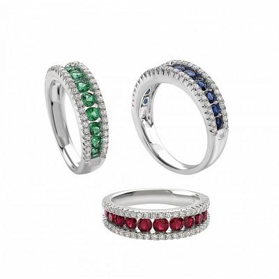 Anello in oro bianco, diamanti e pietre colore