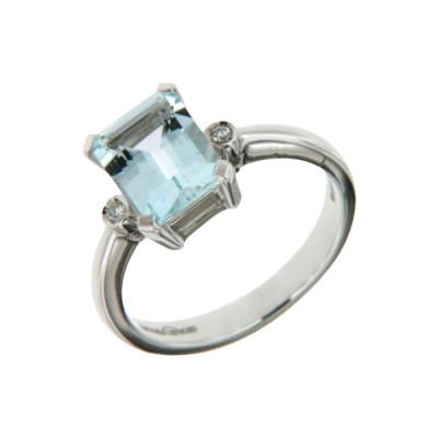 Anello diamanti e acquamarina
