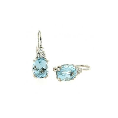 Orecchini diamanti  e acquamarina