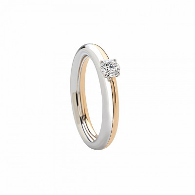 Anello in oro rosa, bianco e diamanti