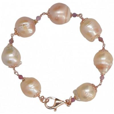Bracciale in perle barocche rosa, tormaline rosa e argento placcato oro rosa.