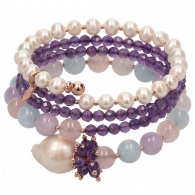 Bracciale in ametista, berillo, perle coltivate e argento placcato oro rosa