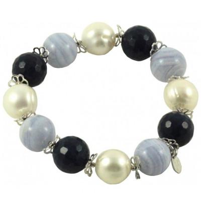 Bracciale sfere calcedonio, quarzo blu e perle con fiorellini argento