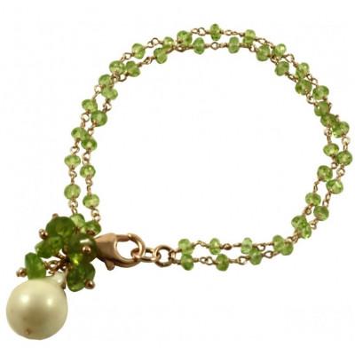 Bracciale 2 fili peridoto con perla barocca pendente