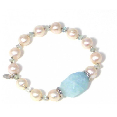 Bracciale perle e acquamarina