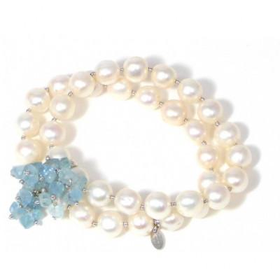 Bracciale 2 fili perle e acquamarina