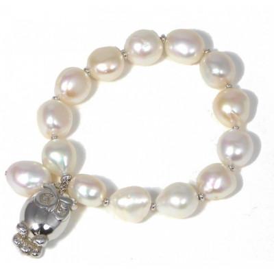 Bracciale perle e gufetto argento