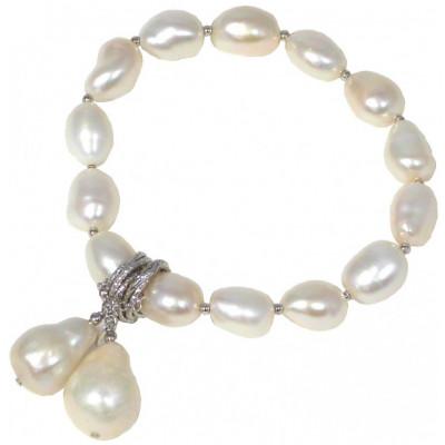 Bracciale perle bianche