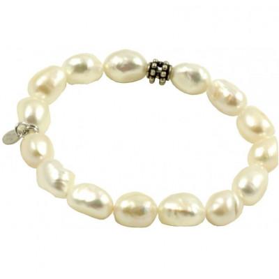 Bracciale basic perle bianche a chicco