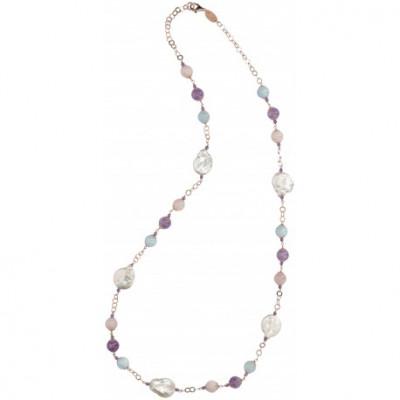 Collana in berillo, ametista e perle