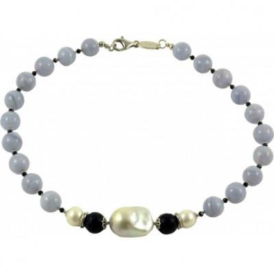 Girocollo calcedonio, quarzo blu e perla barocca