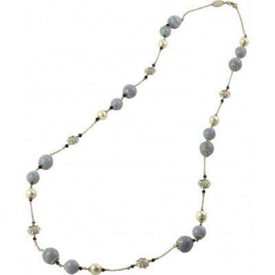 Collana calcedonio, quarzo idrotermale, perle e fiori argento