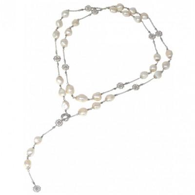 Collana perle bianche e agata rodiata