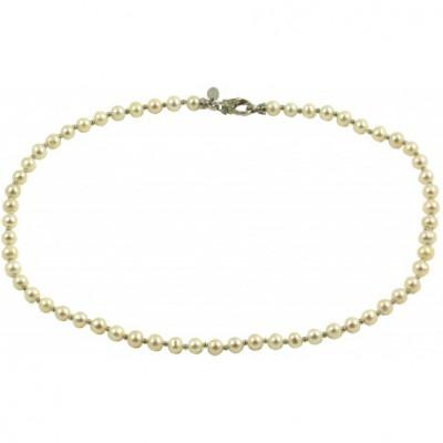 Girocollo basic perle bianche tonde con chiusura con zirconi