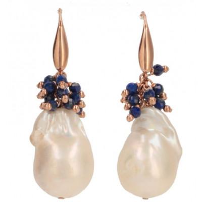 Orecchini in lapislazzuli, perle barocche e argento rosè