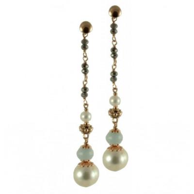 Orecchini quarzi idrotermali, perle coltivate e acquamarina