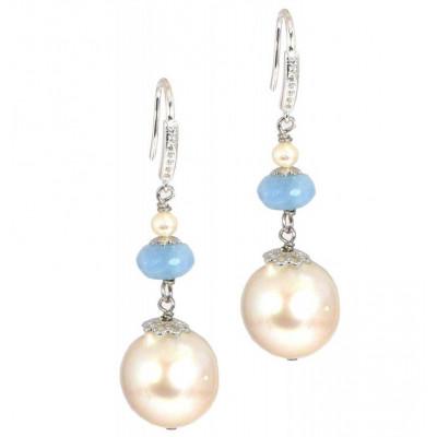 Orecchini acquamarina e perle