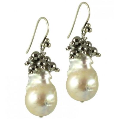 Orecchini basic perle barocche bianche e agata rodiata