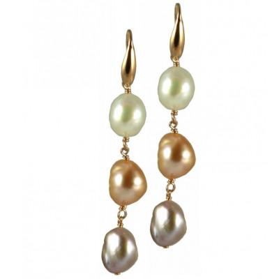 Orecchini basic 3 perle bianche e rosa irregolari