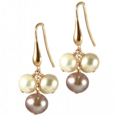 Orecchini basic 3 perle bianche e rosa tonde